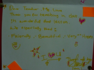Lanny's Thank You cards - introducing greetings to elementary students in her teaching practice at I/A/L/F Bali
