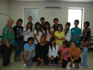 Pre-intermediate group of students at I/A/L/F Bali on last day of teaching