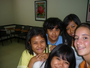 Lina, April, Thami, Amalia and Diah after last day of teaching pre-intermediate class at I/A/L/F Bali