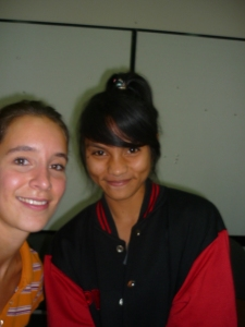 Lina and Angelina from Elementary English class at I/A/L/F Bali who came to say good-bye on last day of teaching
