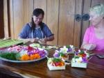 Putu and Susan making Canang