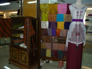Traditional Balinese ceremonial clothes with batik sarongs