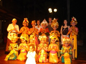 Lanny, Susan, Brian and I with the Balinese dancers at Made's Warung in Seminyak, Bali