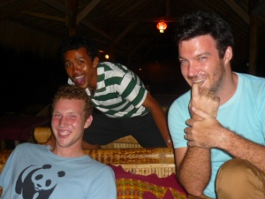 Travis, Sapik and Brian being silly at Freedom Bar in Gili Air, Lombok, Indonesia