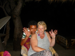 Susan also being silly with Sapik at Freedom Bar in Gili Air, Lombok, Indonesia