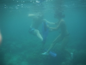 Lina fighting with Brian under the sea in Gili Air, Lombok, Indonesia