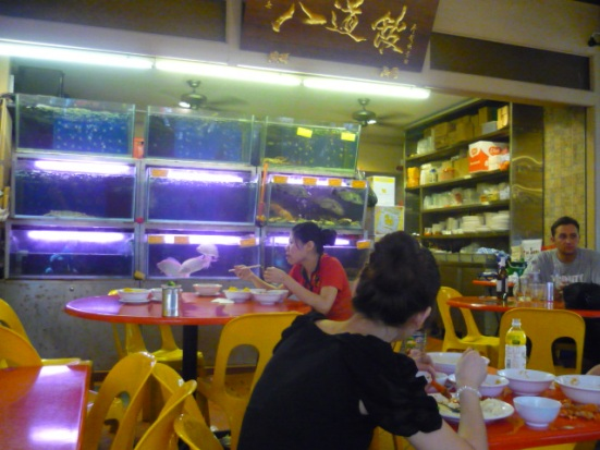 Particularly fresh seafood at Chinese restaurant in Chinatown, Singapore