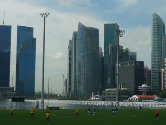 Floating 9-a-side, outdoor football pitch near Marina Bay in Singapore