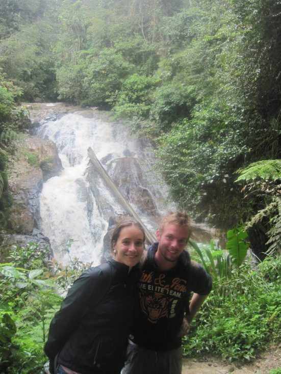 Christian and Lina at Robinson Falls in the Cameron Highlands in Malaysia