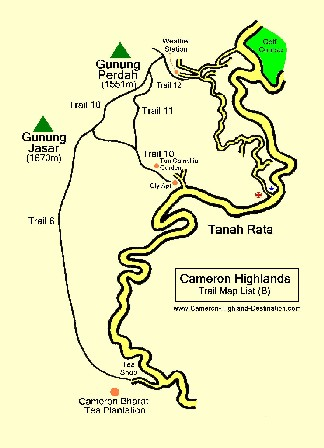 Jungle Trekking Trail Map Cameron Highlands