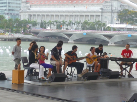 Latino music sound rehearsal in open-air theatre in Singapore