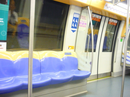 Spacious, clean, empty Singaporean MRT - so different from what I remember in London