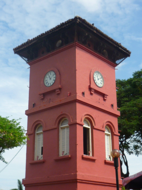 The clock tower in Town Square in Malacca, Malaysia