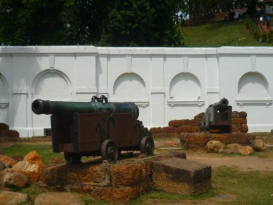 Portuguese guns near A Famosa in Malacca, Malaysia