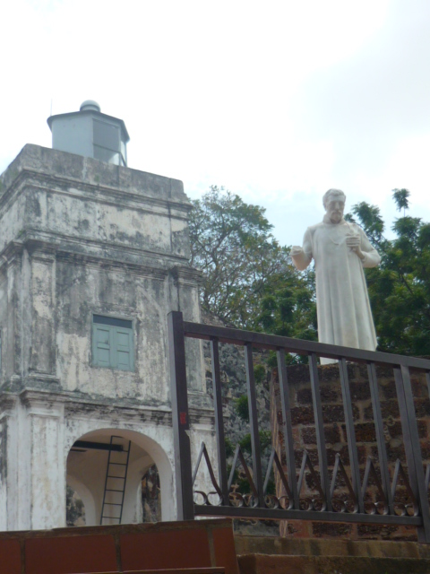 Statue of Francis Xavier whose body was temporarily kept in A Famosa in Malacca, Malaysia