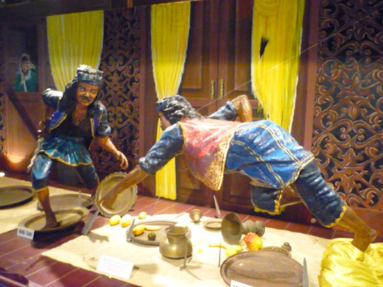 The duel between Malay warriors - Hang Tua and Hang Jebat - in the Sultan's Palace in Malacca, Malaysia