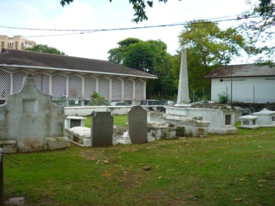 The very blase Dutch Graveyard in Malacca, Malaysia