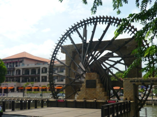 Watermill along the river in Malacca, Malaysia