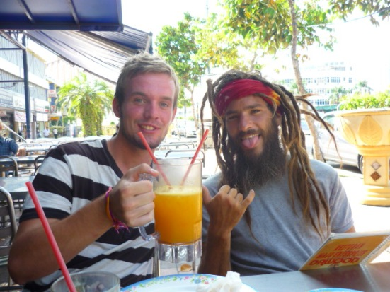 Christian and Frank at the Indian restaurant the following day for breakfast in Malacca, Malaysia