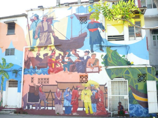 Street art with the story of the great warrior Hang Tuah in Malacca, Malaysia