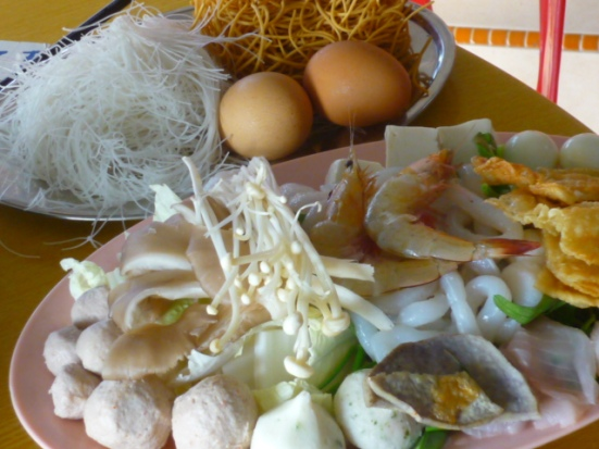 Steamboat ingredients for dinner in Malacca, Malaysia