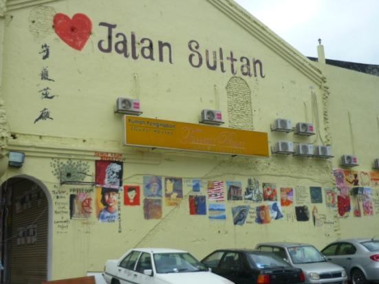 Street Mural of Heart Jalan Sultan near Chinatown in Kuala Lumpur, Malaysia