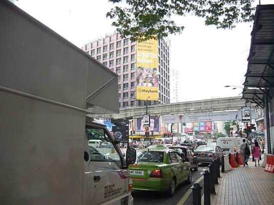 Busy, traffic-jam at intersection near Bukit Bintang in Kuala Lumpur, Malaysia