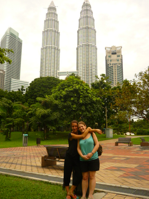 Jude and Lina in front of Petronas Towers, Kuala Lumpur, Malaysia