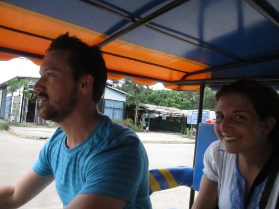 Mr Tuk Tuk driving our Tuk Tuk with goosey Lili in Koh Lanta, Thailand