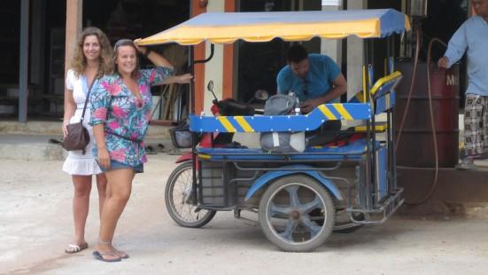 Lili and Mandy posing by the Tuk Tuk in Koh Lanta, Thailand