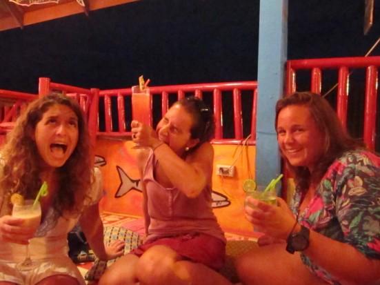 Mandy, Lili and Lina showing how we felt with Mr Tuk Tuk driving our tuk-tuk in Koh Lanta, Thailand