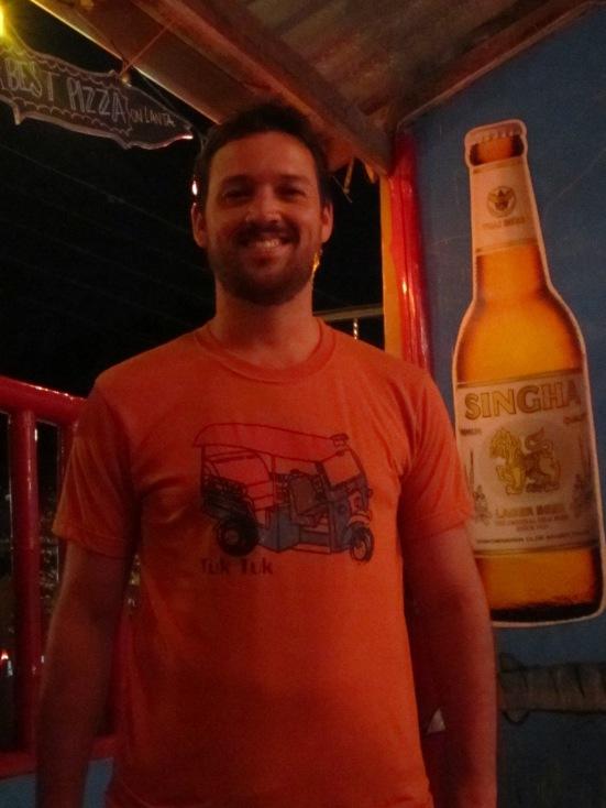 Dave posing with his new Tuk Tuk t-shirt at Barracuda Bar, Koh Lanta, Thailand