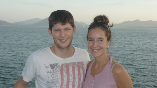 Nico and Lina on ferry from Pulau Pangkor to Lumut, Malaysia