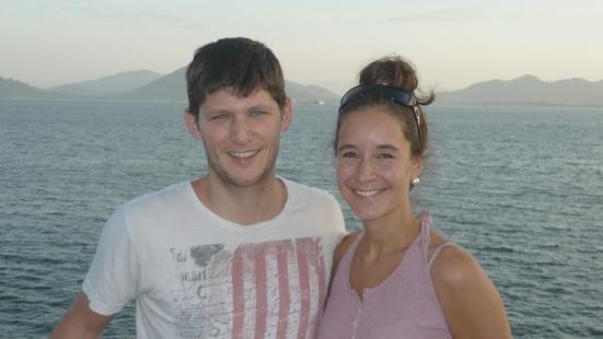 Nico and Lina on ferry from Pulau Pangkor to Lumut, Malaysia