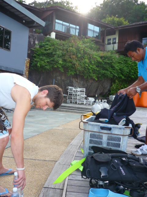 Nico getting ready for confined water dive, East Marine Dive, Langkawi, Malaysia