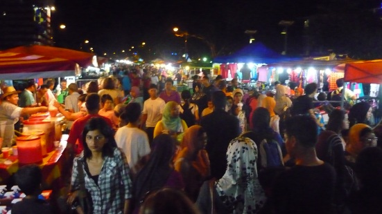 Hundreds of people and stalls and colours and ambience in the Kuah Night Market in Langkawi, Malaysia