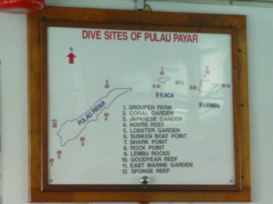 Dive site map, Pulau Payar, Malaysia