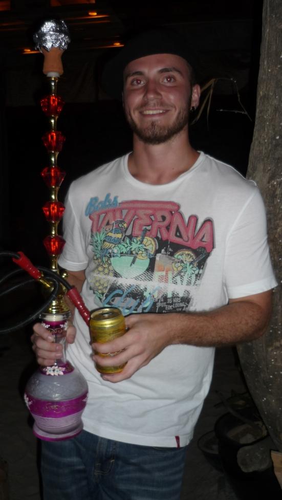 Gustav holding the shisha pipe at Babylon Bar, Langkawi, Malaysia