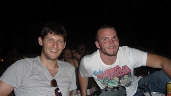 Nico and the lovely Swedish Gustav in Babylon Bar, Pentai Cenang, Langkawi, Malaysia