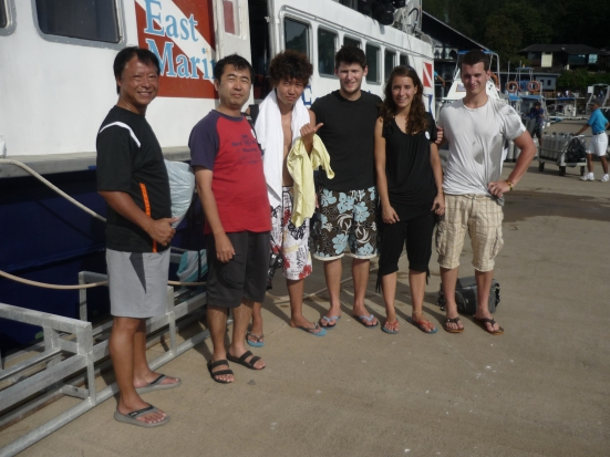PADI Open Water Diver Trainees at East Marine Dives, Langkawi, Malaysia (Mr Wong, Japanese friends, Nico, Lina, Jonathon)