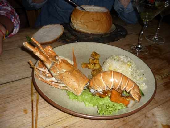 Lobster starter for New Year's Eve dinner at Putumayo, Pentai Cenang, Langkawi, Malaysia