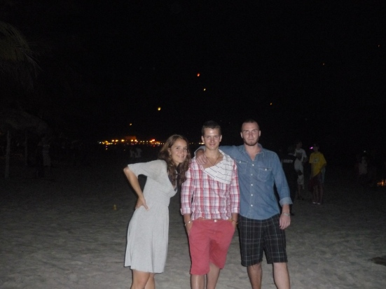 Gustav, Jonathon and Lina on New Year's Eve on Pentai Cenang, Langkawi, Malaysia