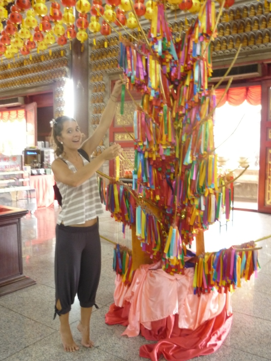 Casting Nicolina's wish on Kek Lok Si's Wishing Tree in Penang, Malaysia
