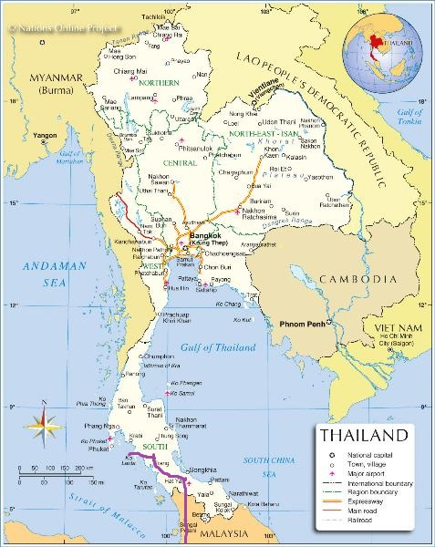 Route from Penang in Malaysia to Koh Lanta, Thailand