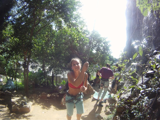 Lina - ready to belay - in Tonsai, Thailand