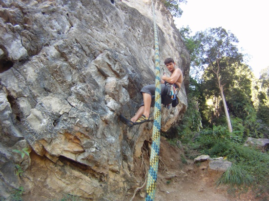 Nico's slow descent after a climb in Tonsai - Railay, Thailand
