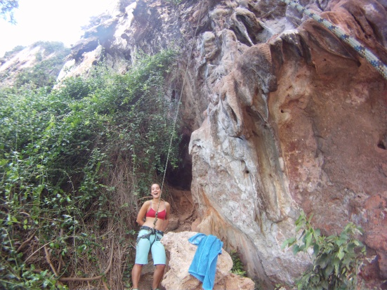 Making jokes with my belayer before climbing in Tonsai-Railay, Thailand