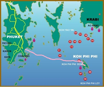 48km ferry ride from Koh Phi Phi to Phuket in Andaman Sea of Thailand