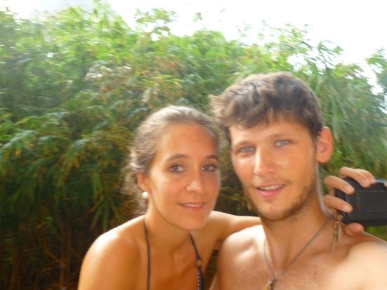 Nico and Lina posing between climbs in Tonsai, Thailand