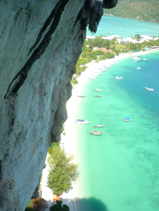 Rock and crystal blue waters from Tonsai Wall in Koh Phi Phi, Thailand